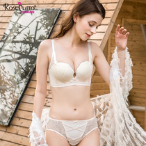 f05ed3d27db75 Underwear female suit sexy lace gathered bra no steel ring thick small  chest on the shell ...