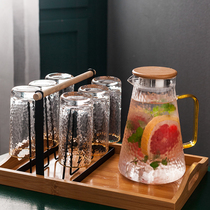 Household glass water set simple Nordic cold water pot heat-resistant hammer Glass 6 only with a tray cup holder