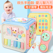 Baby hand drum childrens music beat drum early education puzzle baby toys 0-1 3-6-12 months 8 piano
