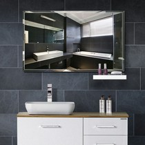 Mirror wall hanging frame mirror makeup mirror bathroom mirror dressing plane free punch inside washbasin wall European