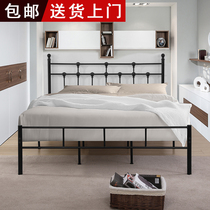 Simple European-style wrought iron bed 1 2 m single bed 1 5 M 1 8 m double bed environmentally friendly paint thickened iron bed