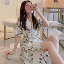 Summer nightgown cotton Korean Fresh and sweet Loose ladies pajamas Japanese kimono nightdress thin summer home service