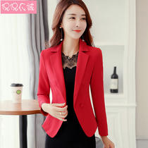 2019 spring new long-sleeved small suit Korean version of the slim single-breasted two-button suit short jacket solid color large size