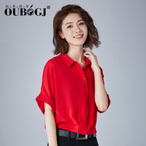 OUBOGJ chiffon shirt female red short jacket womens summer new tide bat shirt loose shirt short sleeve