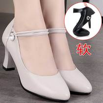 Mother shoes single shoes high heel leather soft bottom shoes 2019 new middle-aged spring and autumn ladies word buckle shoes