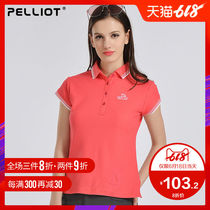 Bursi and polo shirt womens short-sleeved T-shirt Summer Slim breathable lapel outdoor quick-drying clothing sports quick-drying T-shirt