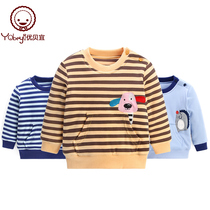 YouTube childrens striped cotton clothes boys and girls winter thickening warm jumper baby cotton coat