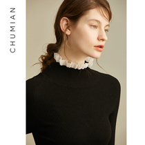 Z First cotton ear turtleneck sweater 2018 autumn Winter New Black lotus leaf side knitwear female inside a jumper