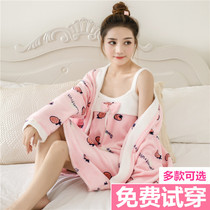 Autumn and winter Flannel robe sling sexy coral velvet pajamas Long sleeves cute bathrobe two pieces set home suit