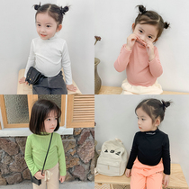 Girls knit primer shirt autumn 2019 New childrens baby solid color long-sleeved high-necked T-shirt thin section tide