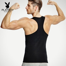 Playboy mens vest cotton youth breathable summer primer shirt fitness tight sports slim type