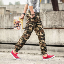 Camouflage outdoor sports overalls mens casual pants multi-pocket straight long pants beam pants slim harem pants