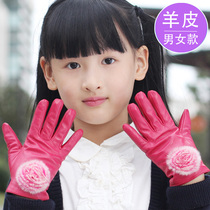 Childrens leather gloves winter girl Boys Girls warm fingers autumn and winter plus cashmere baby pupils cute thickening