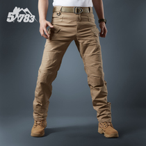 51783 Baggitt Slimming Overalls cotton elastic casual pants mens small feet straight tube tactical multi-pocket trousers