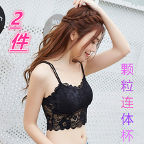 Girl playing the base of the lace vest anti-walking light-covered womens bra beauty back underwear strap tube top middle school students thin sexy