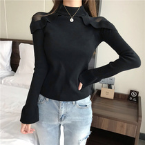 Fat mm shade Bottom shirt female spring and autumn lace fat sister long sleeve hollowed out fat mm foreign gas careful machine top