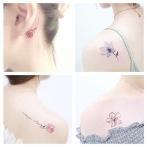 50 tattoo stickers waterproof female lasting simulation Korean small fresh English ankle clavicle sexy flowers Sakura
