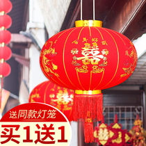 Wedding lanterns outdoor flocking red lanterns balcony ornaments Spring Festival Palace lights decorative arrangement wedding supplies