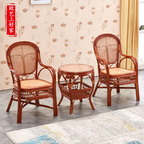 Real vine woven rattan chair three-piece set balcony small tea table combination leisure single back chair simple modern chair