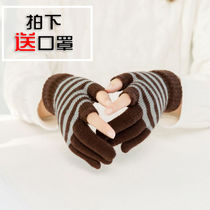 Autumn and Winter Open two fingers ladies warm gloves knitted wool thickened students write leakage half finger gloves men and women