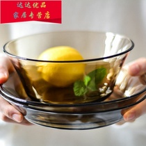Simple tempered glass glossy plate dish dish round transparent glass plate steamplate salad plate microwave