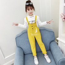 Girls autumn Set 2019 new style Korean version of the trendy children's wear school season net red bib two-piece suit