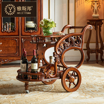 Jasper European dining car HIGH-grade classical wood caring drinks Car American Dining Car mobile trolley