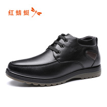 Red Dragonfly shoes autumn and Winter new mens shoes plus cashmere warm shoes comfortable casual lace high-top cotton shoes leather shoes