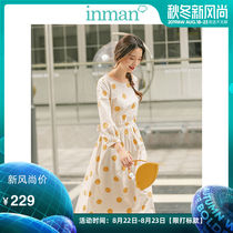 Inman 2019 autumn New Art French retro yellow wave point dress long skirt lace waist sleeves