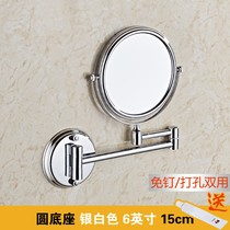 Free punch bathroom full copper wall folding dressing mirror free nail double-sided cosmetic mirror telescopic rotation zoom beauty mirror