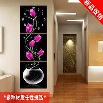 Modern living room frameless painting with clock murals wall clock triple ice crystal glass porch corridor decorative painting Tulip