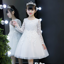 Princess dress girls autumn 2019 New childrens white dress little girl fluffy yarn dress skirt