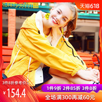 2019 new yellow sports and leisure sunscreen thin coat female spring and autumn wild baseball clothing tide sunscreen cardigan