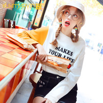 2019 early autumn loose students Western style shirt female autumn new long-sleeved t-shirt ins bottoming shirt tide net red autumn clothing