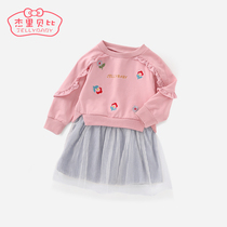 Girl skirt foreign gas 1-3 year old children princess skirt baby autumn Winter small Dongchun Pack 2 baby dress spring and autumn