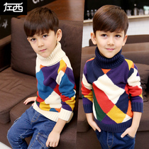Zuo Mengdan boy turtleneck sweater Winter clothes 2018 new childrens knitwear autumn and winter Chinese Big boy thickened Korean version tide