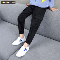 Left West boy pants overalls childrens casual pants spring and autumn models 2019 new Big Boy Boy Korean version of the tide