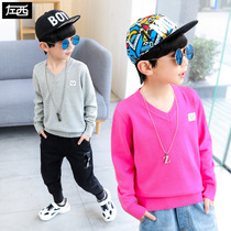 Zuo Mengdan Boy Sweater Spring 2019 new Childrens cotton knitwear foreign gas middle and autumn Korean edition tide Clothes