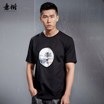 Italian tree original cotton T-shirt male short-sleeved summer Chinese wind round neck printed cotton shirt youth loose version