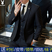 Playboy Suit Suit mens three-piece casual formal occupation business suit slim groom dress