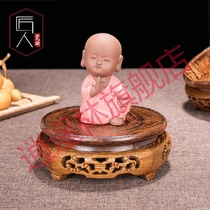Vase base frame solid wooden Buddha fish tank odd stone pots chicken wing wood Mahogany ornaments base Tray Round