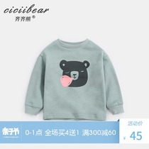 Qi Qi bear spring 2019 men and women baby Bear printed Terry sweater long-sleeved infant cotton jacket