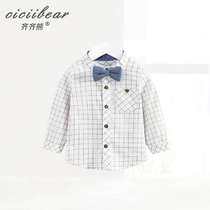 Qi Bear 2019 Spring New product male and female baby tie vertical collar plaid shirt baby cotton casual Top