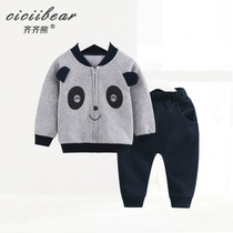 Qi Qi bear spring 2019 new baby baseball clothing sweater suit baby cartoon panda printing two-piece