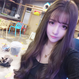 Korean woman wig long curly hair air Liu Hai long hair fluffy realistic air Liu Hai wig piece invisible without trace