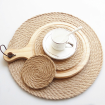 onlycook Nordic style placemat pot mat coaster solid color cotton pad table mat insulation linen round Western mat