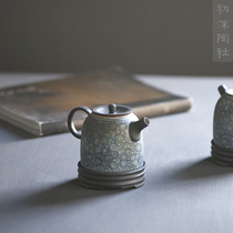 Jujing Jingdezhen ceramic tea set set home blue and white teapot coarse ceramic tea pot hand-made Han duo pot