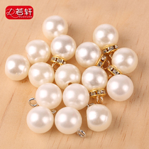 Pearl round button small buttons accessories wild shirt female dress clothes white glossy mushroom buckle decoration