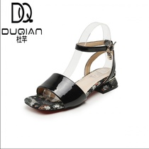 Du Qian summer retro with printed sandals female summer with wild square rough with Harajuku wind word buckle single shoes