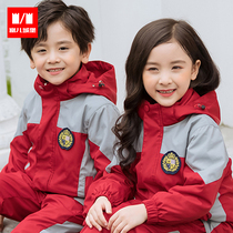 Kindergarten clothing autumn and winter primary school students winter uniforms jackets three-in-one plus cashmere removable childrens clothing